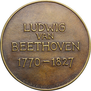 reverse: Austria.  Ludwig van Beethoven (1770-1827). Medal 1927, celebrating 100th anniversary of the death