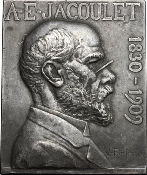 obverse: France.  A.E. Jacoulet (1830-1909). Silvered AE Rectangular Plaque 70x58, 1909