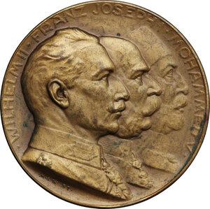 obverse: Germany.  Wilhelm II (1888-1918), Franz Joseph (1848-1916) and Mohamed V (1909-1918).. AE Medal, Stuttgart mint, 1914
