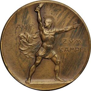 reverse: Germany.  Wilhelm II (1888-1918), Franz Joseph (1848-1916) and Mohamed V (1909-1918).. AE Medal, Stuttgart mint, 1914