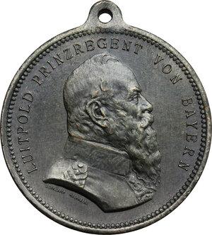 obverse: Germany. Bayern..  Luitpold, Prince regent (1886-1912).. Tin Medal, Nuremberg mint, 1912