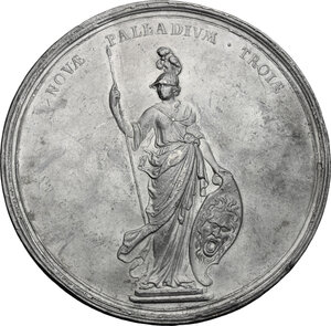 reverse: Great Britain.  Anne Stuart (1665-1714), queen of Great Britain. . Pewter \Union of Scotland and England\