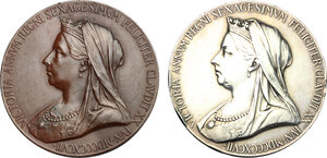obverse: Great Britain.  Victoria (1837-1901). Lot of two (2) AR and AE Victoria's Diamond Jubilee Medal 1897