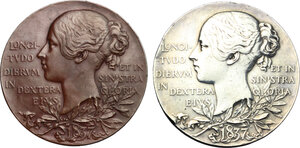 reverse: Great Britain.  Victoria (1837-1901). Lot of two (2) AR and AE Victoria's Diamond Jubilee Medal 1897