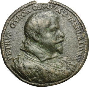obverse: Italy..  Peter Gyron (1579-1624), Duke of Ossuna, Count of Urena, Viceroy of Sicily.. Cast Bronze Portrait Medal, 1618