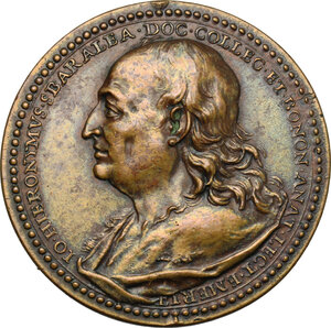 obverse: Italy..  Giovanni Girolamo Sbaraglia (1641-1710), Doctor and Anatomist. Struck medal for the death, Bologna mint