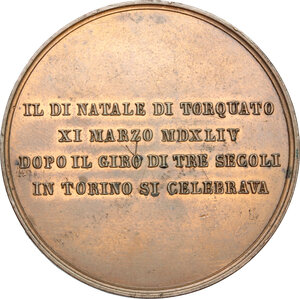 reverse: Italy..  Torquato Tasso (1544–1595), poet and intellectual.. Medal, Ferrara mint, 1834