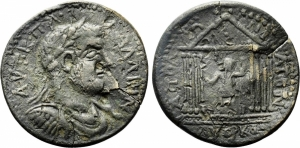 obverse: Gallienus (253-268). Pisidia. Apollonia Mordiaeum.  AE (21,50 gr. - 40 mm.). Obv: AVT K Π Λ ΓΑΛΛΙΗΝ. Laureate, draped and cuirassed bust right. R.\: ΑΠΟΛΛΩNIATΩΝ / AVΘΡΚO. Octastyle temple, with pellet in pediment, containing statue of Gallienus right, with sceptre and patera. SNG von Aulock 4999; SNG BN 1365-6. qBB. RR.
