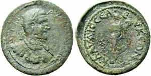 obverse: Claudius II Gothicus (268-270). Pisidia, Seleucia. Ae Medaillon (34 mm. - 15,56 gr.). D.\: AV K M AVP KΛAVΔIOC. Busto laureato e corrazzato a destra; R.\: KΛAVΔIOCЄΛЄVKЄΩN. Tyche stante a sinistra, con cornucopia. SNG von Aulock 5240; SNG BN 1907-9. qBB. Raro.