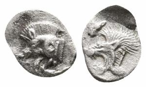 obverse: Mysia. Kyzikos (480-450 a.C.). AR Emiobolo (10 mm. - 0,26 gr.). D.\: protome cinghiale a sinistra; R.\: testa di leone a sinistra dentro quadrato incuso. SNG BN 385. qBB. R1.