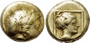 obverse: LESBOS. Mytilene (Circa 377-326 BC). EL Hekte (2,57 gr. - 10 mm.). D.\: testa laureata di Apollo a destra. R.\: busto drappeggiato di Artemide a destra, dentro cornice/quadrato. Bodenstedt 95. HGC 6, 1021. BB. R1.
