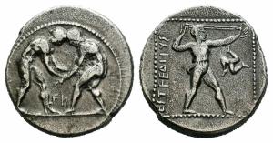 obverse: PAMPHYLIA, Aspendos (420-370 a.C.), AR Stater (10,50gr. - 23mm.). D.\: due lottatori in cerchio perlinato, FN sotto; R.\: EΣTFEΔIIYΣ, Slinger in piedi, trinacria a destra, il tutto dentro cornice quadrata perlinata. SNG France 97-98. qBB. R1.