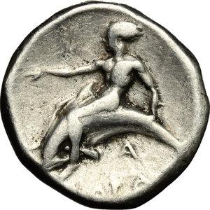 reverse: Calabria. Taranto (380-340 a.C.). AR Nomos (7.75 gr. – 20 mm.). D.\: giovane che cavalca un cavallo a sinistra. R.\: Phalantos cavalca delfino a sinistra. HN Italy 868. qBB. NC.