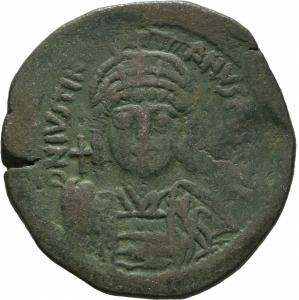obverse: Giustinianus I (527 - 565). Costantinopoli. AE Follis [40 Nummi], (18,71 gr. - 34 mm.). D.\: D N IVSTINI - ANVS P P AVC. R.\: M - A/N/N/O XXII - Δ / CON. Sear 163. qBB.
