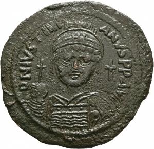 obverse: Giustinianus I (527 - 565). Costantinopoli. AE Follis [40 Nummi], (20,43 gr. - 43 mm.). D.\: D N IVSTINIANVS P P AVG. R.\: M - A/N/N/O XIII - B / NIKO. Sear 201. BB++. Flan davvero notevole e stupendo: 43 mm.!