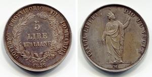 obverse: Milano.Governo Provvisorio di Lombardia.Lire 5 1848. Pag. 314, Gig. 3. Ag. SPL+.