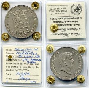 reverse: NAPOLI. Ferdinando II di Borbone(1830-1859). 120 grana del 1856. Ag. qFDC. Sigillata. Mancanza di metallo.