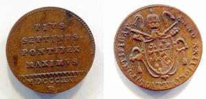 obverse: Roma. Pio VII. 1821. Quattrino. Cu. NC. Ottima consevazione
