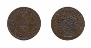 obverse: PIO IX. 1 Baiocco 1851. Anno V. Bologna. Cu.