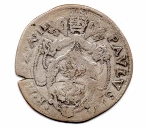 reverse: ROMA. Paolo V. 1605-1621. Testone 1606. AG. MB. Rara.