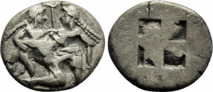 obverse: Thrace, THASOS (480-463 b.C.). AR Stater (8,40 gr. – 21 mm.). D.\: Ithyphallic satyr advancing right, carrying off protesting nymph. R.\: Quadripartite incuse square. SNG Copenhagen 1010-2; HGC 6, 331. BB. RR.