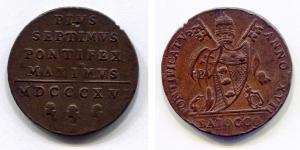 obverse: ROMA. Pio VII. Baiocco 1815. BB. NC.