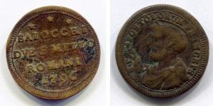 obverse: Roma. 2 Baiocchi e mezzo. 1796. MB. NC