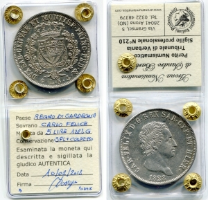 obverse: Regno di Sardegna. Carlo Felice. Lire 5 del 1828 GE. SPL+. Colpetto. Sigillata.