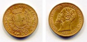 obverse: Regno di Sardegna. Vitt. Em. 2°. 20 Lire 1857. Torino. Au (6,45 gr.). Discreta.
