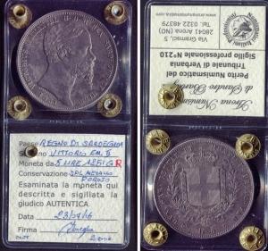 obverse: Regno di Sardegna.Vittorio Emanuele 2°(1849-1861). Lire 5 1851, Genova. Pag. 76, Gig. 32. Ag. SPL. R1.Sigillata.Ottima la patina.