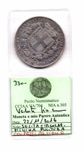 reverse: Regno di Sardegna.Vittorio Emanuele 2°(1849-1861). 5 Lire 1853. Genova. AG. BB. RR/R2. Colpetti.