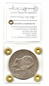 obverse: Regno d'Italia.Vittorio Emanuele 2°(1861-1878). Lire 5 del 1878. Roma. Ag. FDC 61. NC. Colpetti ai bordi. Sigillata Montenegro.