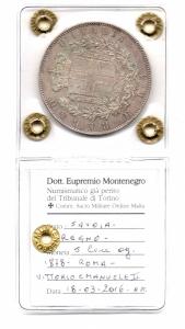 reverse: Regno d'Italia.Vittorio Emanuele 2°(1861-1878). Lire 5 del 1878. Roma. Ag. FDC 61. NC. Colpetti ai bordi. Sigillata Montenegro.