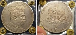 obverse: Colonia Eritrea.Umberto I(1890-1896). Lire 5 – Tallero 1891. Pag. 118, Gig. 1. Ag. SPL. R1.Moneta Sigillata.