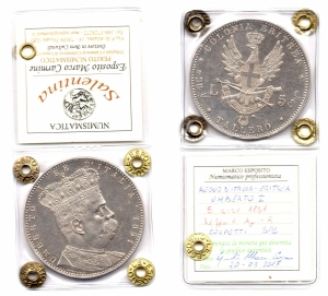 obverse: Colonia Eritrea.Umberto I(1890-1896). Lire 5 – Tallero 1891. Pag. 118, Gig. 1. Ag. SPL. R1.Colpetti. Moneta Sigillata.