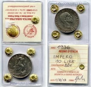 obverse: Regno d'Italia.Vittorio Emanuele 3°(1900-1943). Lire 10 1936Impero. Ag. BB+.Sigillata.
