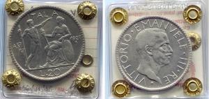 """obverse: Regno d'Italia. Vittorio Emanuele 3° (1900-1943), Lire 20 del 1927 VI """"Littore"""". AG. BB/SPL. Moneta sigillata e periziata."""