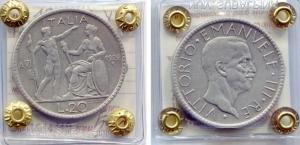 """obverse: Regno d'Italia. Vittorio Emanuele 3° (1900-1943), Lire 20 del 1928 """"Littore"""". AG. NC. BB+. Moneta sigillata e periziata."""
