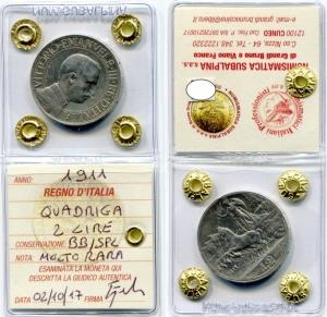obverse: Regno d'Italia.Vittorio Emanuele 3°(1900-1943). 2 lire 1911