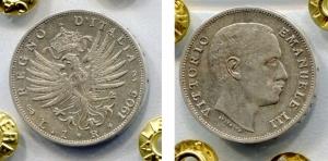 """obverse: Regno d'Italia.Vittorio Emanuele 3°(1900-1943). Lire 1 del 1905 """"Aquila sabauda"""". Ag. qSPL. R2. Sigillata."""