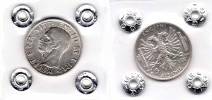 obverse: Regno d Italia. Vittorio Emanuele 3°. Albania. 5 Lek 1939 XVII. AG. qFDC/FDC. Sigillata e periziata.