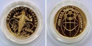 obverse: Italia. 20 euro del 2004. 2006 FIFA World Cup Germany. Au (6,45gr.), FS. Dentro suo oblo .