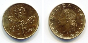 obverse: Italia. Lire 20 1968