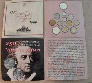 obverse: Italia. 1999. Folder Ufficilale della Zecca di Stato. ALFIERI. 12 Valori, FDC Assoluto. (Val. Cat.: 65 €)