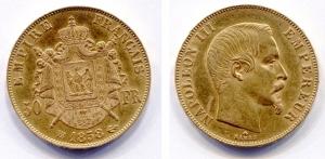 obverse: Francia. Napoleone III. 50 Francs 1858. AU (16,13 gr.). Colpetto dietro la nuca. Discreta. Molto attrattiva.