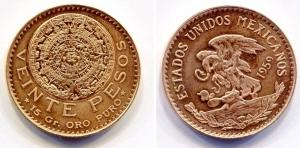 obverse: Messico. 20 Pesos 1959. Au Gold (15 gr. 24KT). Stupenda!