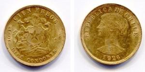 obverse: Cile. 100 Pesos 19426. Au Gold (20,35 gr. 21,6kt / 900/1000). Bella e preziosa piastra!