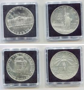 obverse: USA. Cofanetto con 02 monete da ONE DOLLAR del 1986 e 1992. AG. In Folder plastificato rigido. FDC. Molto affascinanti!