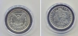 obverse: USA. One Dollar del 1890. Ag in oblò e cofanetto Bolaffi.