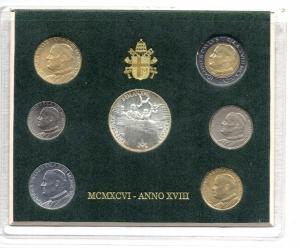 obverse: Vaticano. Folder Ufficiale del 1996 con 7 monete FDC (di cui una in argento). (Val. Cat.: 60€)